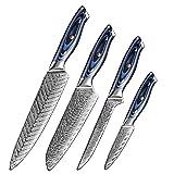 Muxel Juego de 4 cuchillos de cocina de 67 capas de acero de Damasco, muy afilados, acero de Damasco