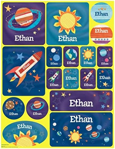 Stickers for Children Kids Boys Girls Personalized Name Labels Outer Space product image