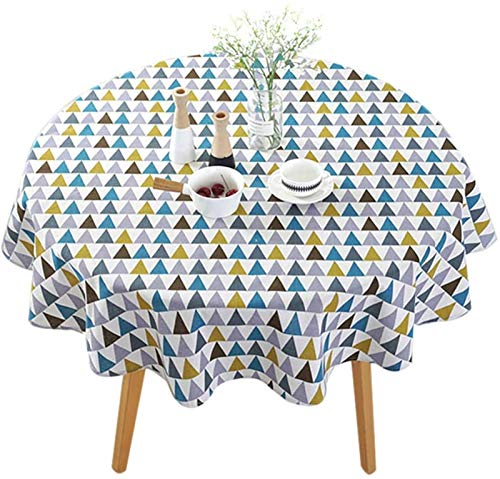 Round tablecloth Geometric Patterns Tablecloth Simple Dinning Non-Slip Table Cover for Wedding Christmas Picnic (Color : Lingge, Size : Diameter: 120CM)