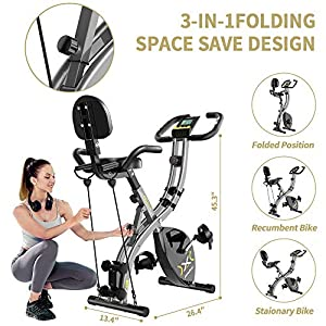 pooboo Folding Magnetic Exercise Bike with Arm Resistance Bands and Dumbbells Adjustable Resistance 3 in 1 Foldable Cycling Bike Indoor Upright Stationary Bicycle with LCD Monitor&phone holder,Pulse