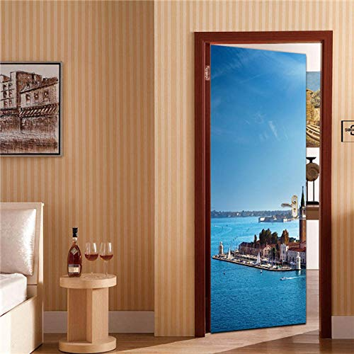 Ygccw Fácil de usar película adhesiva para puerta, para decoración de salón, dormitorio, decoración del hogar, impermeable, 77 x 200 cm, Mt230_77 x 200 cm