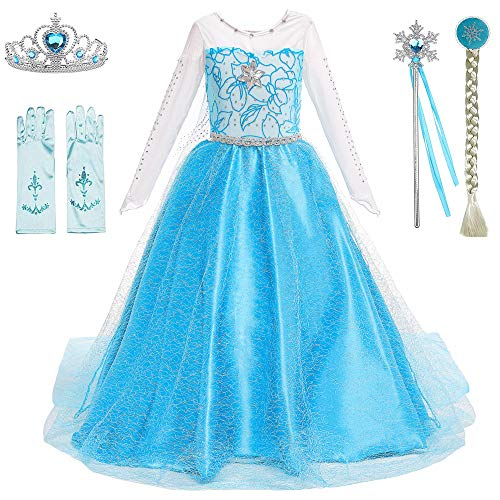 Princess Costumes Elsa Dress Birthday Party Dress Up for Little Girls with Wig,Crown,Mace,Gloves Accessories 8-10Years(Q89w/acc,140cm)