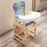 Trona 2 en 1 de madera, altura ajustable, asiento de espuma con un plato de PVC desmontable, cubierta de plástico y cinturón de seguridad para niños de 7 meses a 6 años de edad