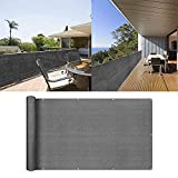 uuffoo Balcony Privacy Screen Cover Windscreen Fence Screen Includes Rope & Black Cable Ties for Balcony Apartment Backyard Patio Porch Garden Grey 3'x10'