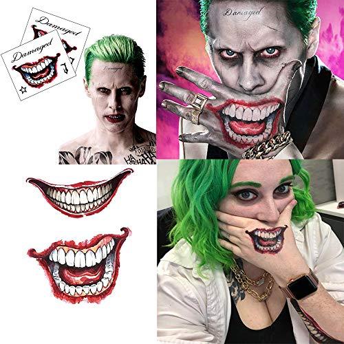 AAERP Suicide Squad Tatuajes temporales, Joker Tatuaje de bola de suicidio tatuaje de la boca 3D adhesivo Harley Quinn para cosplay, Halloween, fiestas, resistente al agua