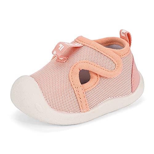 LACOFIA Scarpe Primi Passi per Neonata Sneakers Traspiranti Antiscivolo Bimba Scarpine Ginnastica per Bambina Rosa 21