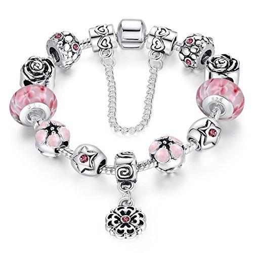 Cadena de Plata Wowl Amor Segura plateó la pulsera Pink Cubic Zirconia flor de Lampwork granos del encanto de las pulseras