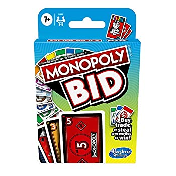 Monopoly Bid Game Quick-Playing Card Game for 4 Players Game for Families and Kids Ages 7 and Up