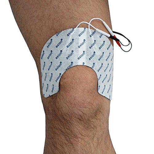2 axion Elektroden-Pads zur TENS-Schmerztherapie am Knie und Kniegelenk