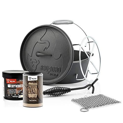 BBQ-Toro 6-teiliges Dutch Oven Starter Set mit Dutch Oven, Ringreiniger, Untersetzer, Deckelheber, Dopfwunder Einbrenn- & Pflegepaste, Dutch Oven Master Gewürzzubereitung