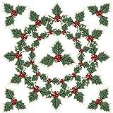 40 Pezzi Bacche di Agrifoglio Simulazione di Natale con Foglie Verdi Bacche di Agrifoglio di Natale Artificiali Frutti di Bacche Rossi per Corona di Nozze Festa Topper Torta Decorazione