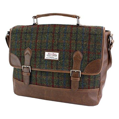 The British Bag Company Breanais Aktentasche mit Grünem und Rotem Harris Tweed