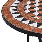 vidaXL Mosaik Bistrotisch Gartentisch Balkontisch Mosaiktisch Terrassentisch Tisch Beistelltisch Couchtisch Gartenmöbel Grau 61cm Keramik - 9