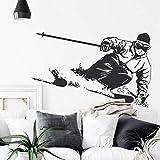 wZUN Ski Alpin Sticker Mural Vinyle Autocollant Robe de Sport Skieur Cadeau Robe de Sport Amovible Mural 78X50 cm