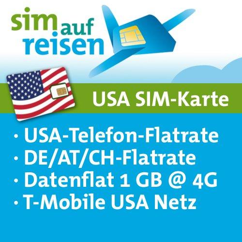 USA Prepaid SIM-Karte T-Mobile Netz – Daten-Flat (1 GB @ 4G), USA-Flat, DE/AT/CH-Flat (Festnetz)