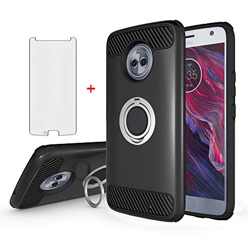 Phone Case for Motorola Moto X4 with Tempered Glass Screen Protector Cover Magnetic Ring Holder Stand Kickstand Cell Accessories MotoX4 X 4th Generation 4X 4 Gen Android One XT1900-1 Women Men Black