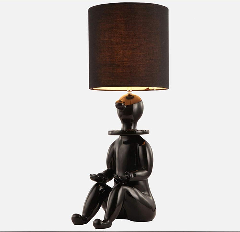 DFEDCLL Kreative Tischlampe Europische Clown Harz Handwerk Tischlampe Moderne minimalistische Kinderzimmer Schlafzimmer Nachttischlampe,schwarz
