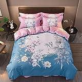 yaonuli Baumwolle vierteilig Baumwolle aktiv vierteilig Bambus Liebe - blau 1,5 m - 1,8 m breites Bett