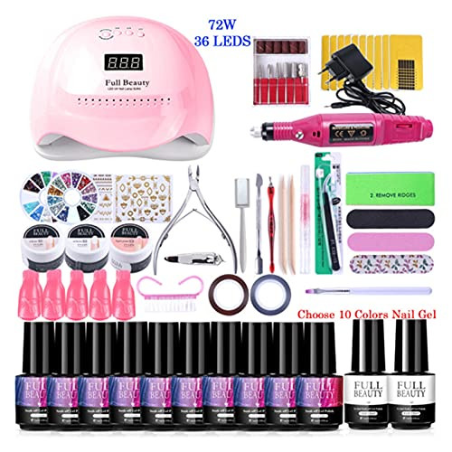 Delawen Nail Set For Manicure Kit UV LED Lamp Dryer With Nail Gel Polish Soak Off Varnishes Electric Drill Machine Nail Art Tools (Color : Set04 E1P 10 RD)