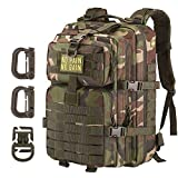 Hannibal Tactical 36L MOLLE Assault Backpack, Tactical Backpack Military Army Camping Rucksack, 3-Day Pack Trip w/Patch, D-Rings, Woodland