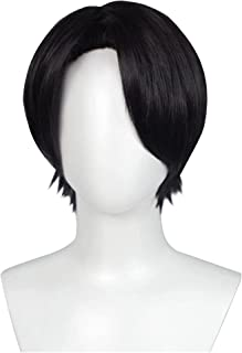 YYCHER LeviAckerman Cosplay Wig Anime Attack on Titan Black Short Straight Wigs with Bangs Cosplay Accessories for Women G...