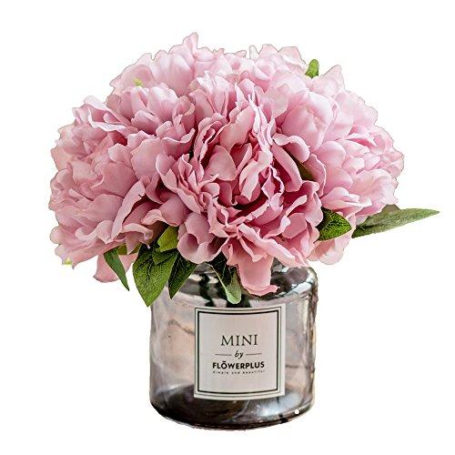 Billibobbi ,Artificial Flowers with Vase, Fake Peony Flowers in Gray Vase