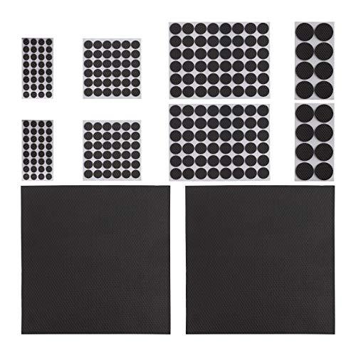 Relaxdays, schwarz Möbelstopper 250er Pack, rutschfest, Aufkleber, zuschneidbare Platten, runde Eva-Pads, versch. Größen