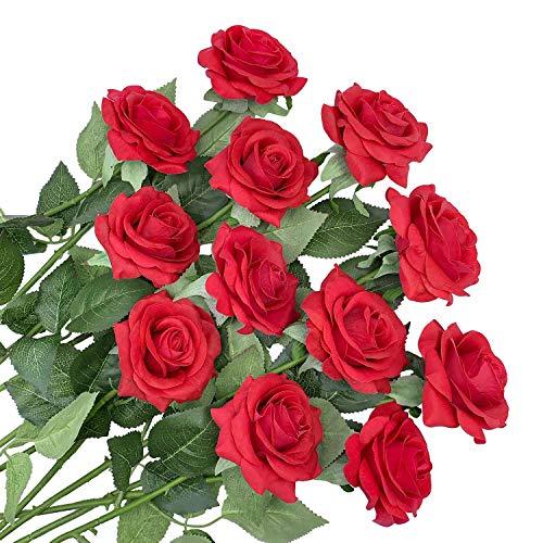 12 Stems Artificial Flowers Silk Roses Fake Flowers Bridal Wedding...