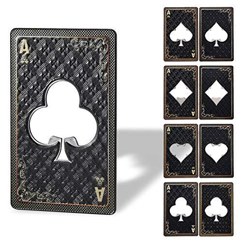 KADAX Abrebotellas, Diseño Carta de Póker, As, Abridor de Botellas de Metal, para Casa, Fiesta, Bar, Soda, Cerveza, Boda, Abridor, elegante regalo (trébol)