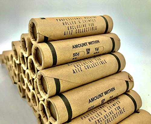 AIIZ Collectibles Lincoln Wheat Penny Roll (50 Coins), Mixed Years & Mints (1909-1958 PDS) Circulated Good to UNC in Old Window Wrap, Machine Rolled Penny Roll