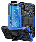 ComoUSA Designed for Moto E6 Case with Screen Protector Shockproof Slim Protective with Hybrid Kickstand Cover for Motorola Moto E6 Phone (Blue)