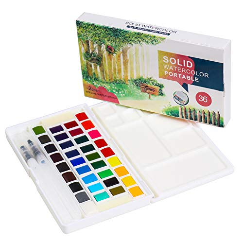 Kids Watercolor Paint Set, Art Supplies Painting Gifts for Artists, Adults, Teenagers, Set of 36 Assorted Vibrant Colors with Watercolor Paint Brush Pens, Palette, and Durable Storage Case