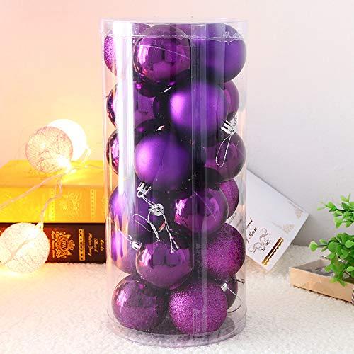 Simmia Home Ciondolo in plastica Natalizia con Palle di Natale da 24 ct, Palla appesa da 8 cm - Viola