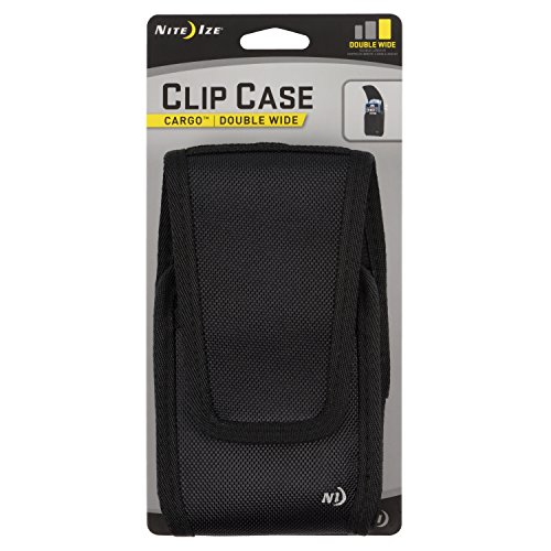 Nite Ize Clip Case Cargo Phone Holster - Protective, Clippable Phone Holder For Your Belt Or Waistband - Double Wide - Black