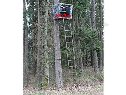 SUTTER Puesto de Caza de árbol transportable y una práctica Escalera de 5,4m / con Asiento Giratorio de 360°, Incl. Red de Camuflaje, Hecho de Acero Robusto