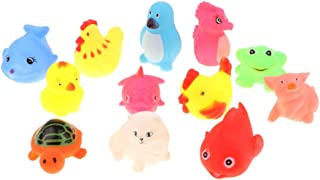 HOMYL Baby Bathtub Toy Rubber Marine Animals Bathing Squeaky Toys, Pack of 12pcs