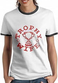 Womens Short Sleeve Trophy Wife Ringer T-Shirt Tops Tee