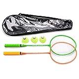 Juego de Bádminton para 2 Jugadores - Set con 2 Raquetas con 3 Volantes - Ideal para Niños y Adultos y Familia - para Actividades al Aire Libre jardín Playa (2 Raquetas, Verde/Naranja)