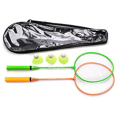 Badmintonschläger Set 2 oder 4 Personen Badminton Set für Erwachsene Kinder Kinder Familie mit 3 Federbällen