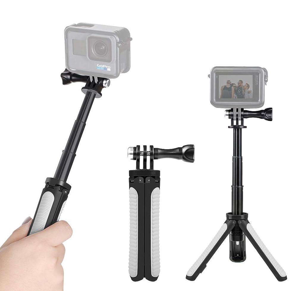 """きつくリンクぼろ【Taisioner】GoPro HERO8 Black?GoPro MAX用 OSMO ACTION用ミニセルカ棒(グレー)+スマホホルダー+1/4""""インチネジマウント 三段伸縮 三脚機能付き 他のアクションカメラにも対応可能"""