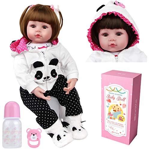 ZIYIUI Bebe Reborn niñas Muñecas Reborn Silicona Reales Baby niño Realista Toddler Dolls Girls Ojos Abiertos Verdadero Baratos Muñecos Reborn Originales Bebes Reborn 50 Cm Panda Outfit