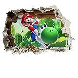 Customise4U Super Mario Wand-Zertrümmern Kinder Wandaufkleber Wandüber Wall Art Wand Tattoo (Mario Smash 70cm)