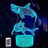 Lámpara tiburón 3d, CooPark cool Oceano LED Óptico Holograma Luz de noche 16 colores cambian con control remoto, decoración de la habitación de los niños Regalos creativos para niños niñas