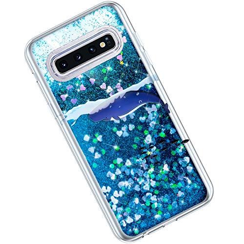 Qjuegad Compatible avec Samsung Galaxy S10 Coque Ultra Slim Pailleté Glitter Quicksand Silicone Étui Transparente avec Motif Etui Antichoc Housse de Protection Back Cover Bumper Shell, Baleine#1