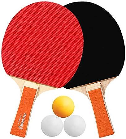 WHCL Conjunto de paletas de Tenis de Mesa, Paddle Ping Paddle/Set de Raquetas, 2 paletas de Tenis de Mesa y 3 Bolas, Caucho Ping Pong Balls Ball Set para Principiantes y niños,Naranja