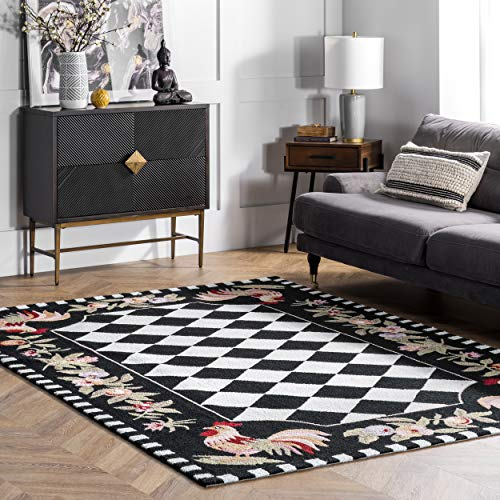 nuLOOM Farmhouse Rooster Area Rug, 3' 6' x 5' 6', Black