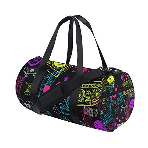 KISSENSU Gym Bag,Bolsa de Deporte Hipsters Seamless Background,Nuevo Cubo con Estampado de Lienzo Bolsa de Deporte Bolsas de Fitness Bolsa de Viaje de Lona