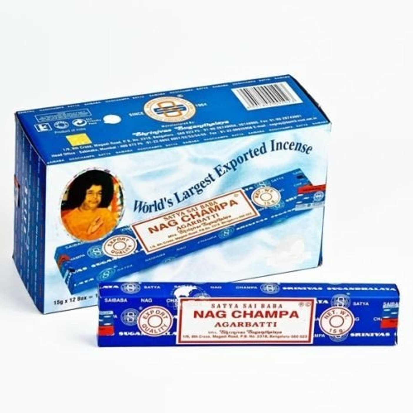 罪悪感虚偽導出Nag Champa incense sticks 15G X 12 BOX = 180G