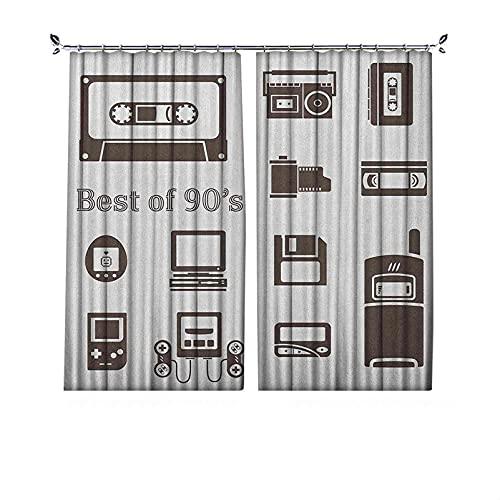 """Cortinas plisadas con aislamiento térmico de los 90, diseño de iconos de los 90, con texto en inglés """"Nostalgia"""", para barras transversales y rieles, color marrón"""