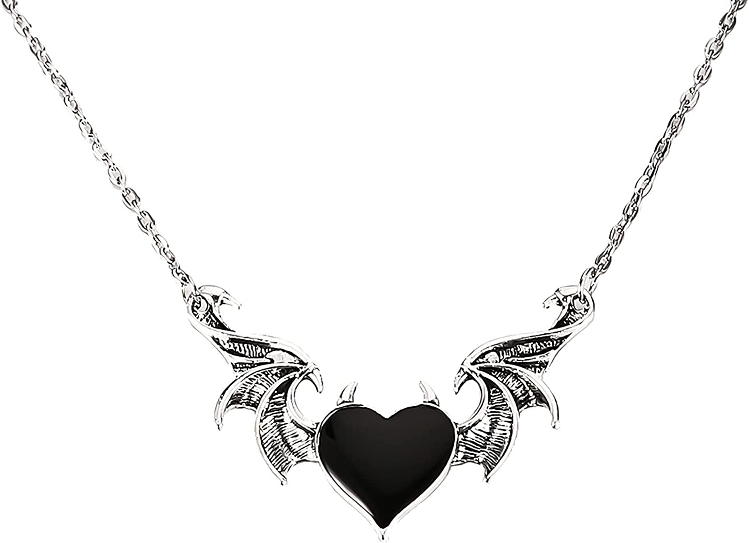 Kaadlawon Devil Wing Heart Necklace, Retro Hip Hop Style Pendant Couple Heart Wing Necklace for Men and Women Black